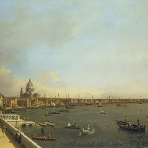 """London: The Thames from Somerset House Terrace towards the City"""